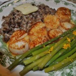Scallops with Caramel-Orange Sauce ~ French Fridays with Dorie Recipe ~ with Wild Rice and Steamed Asparagus