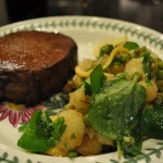 Red Wine Marinated Eye of Round Steaks and Smashed New Potatoes ~ 150th Post!
