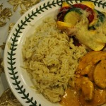 Chicken Korma, Garden Vegetable Tian, and Cardamom Rice Pilaf~French Fridays with Dorie Recipe~and Individual Crunchy and Custardy Tarts