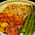 California Chicken Simmered in Wine Sauce with Tomatoes and Artichokes, Wild Rice, and Steamed Asparagus
