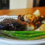 Grilled Rib-eye Steaks, Iron Skillet Roasted Potatoes, Grilled Asparagus, and Chris' Fabulous White Chocolate and Blueberry Cake with White Chocolate Buttercream Icing