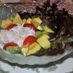 Fresh Rock Crab Salad, Rib-Eye Roast, Potatoes au Gratin, Broiled Tomatoes, and Fresh Cherry Cake