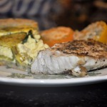 Sea Bass, Zucchini-Ricotta Tart, and Broiled Tomatoes