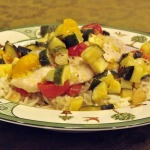 Chicken, Tomatoes, and Zucchini in Foil Pouches with Almond Rice