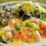 Pan-fried Sand Dabs with Tiger Prawns in White Wine Cream Sauce and Sauteed Zucchini