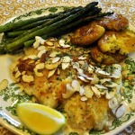 French Fridays With Dorie ~ Almond *Swai* Meuniere ~ with Smashed Roasted Potatoes and Asparagus