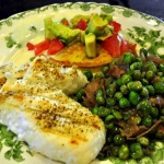 Grilled Sea Bass, Peas with Prosciutto, and Corn Pancakes ~ French Fridays with Dorie