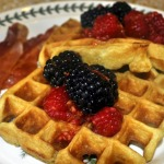 Sour Cream Belgian Waffles with Berries Macerated in Licor 43