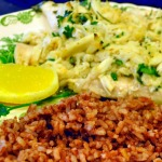 Poached Sole topped with Crab and Madagascar Red Rice