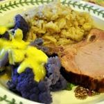 Smoked Pork Chops, Almond Rice Pilaf, and LSU Cauliflower with Hollandaise Sauce