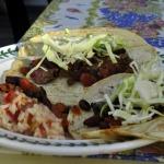 Steak Ranchero Tacos, Mexican Rice, Ranch-style Beans, Pico de Gallo, and Blackberry Sangria