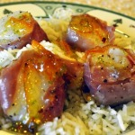 Fabulous Jumbo Scallops Wrapped in Prosciutto With Mojo Marmalade Over Herbed Jasmine Rice