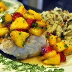 Grilled White Sea Bass with Nectarine and Strawberry Vinaigrette and Rice Pilaf