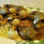 Madeira Pork Chops with Artichokes, Mushrooms, Pearl Onions and Herbed Rice
