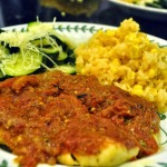 Rock Cod in Tomato Basil Sauce with Zucchini and Mexican Rice