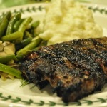 Tuscan Grilled Rib-eye Steaks, Sauteed Green Beans with Mushrooms and Almonds, and Mashed Potatoes