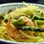 Shrimp and Scallop Scampi with Linguine and Asparagus