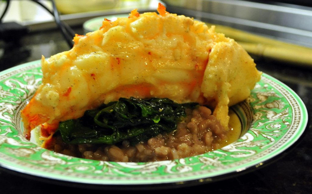 Vanilla-Butter Braised Lobster Tail over Risotto Milanese and Steamed Spinach