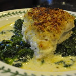 Chicken Imperial over Sauteed Spinach