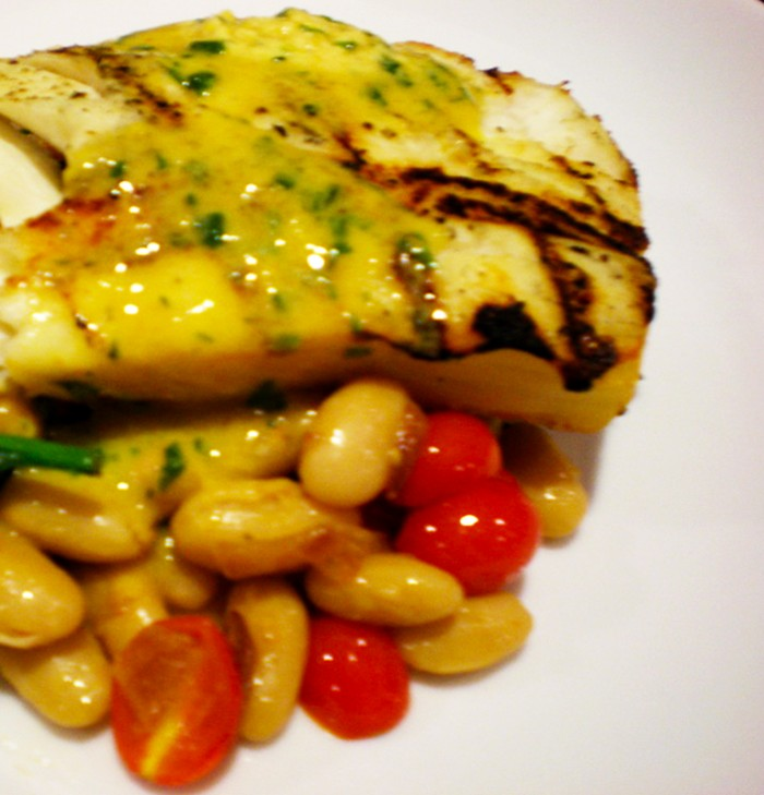Halibut with Mustard Butter and Fingerling Potatoes 021