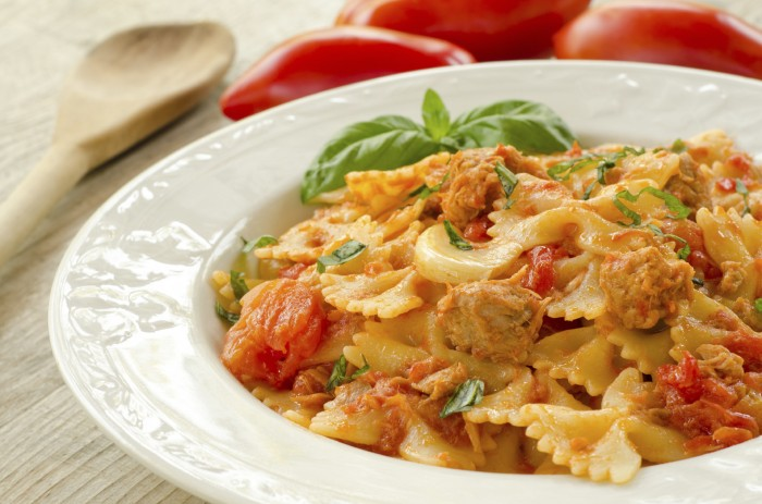 Farfalle with sausage and vodka sauce