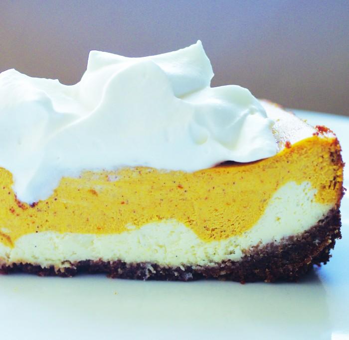 Photoshopped Vanilla and Pumpkin Cheesecake