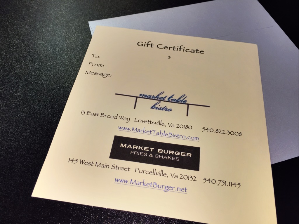 Gift Certificate at Market Burger