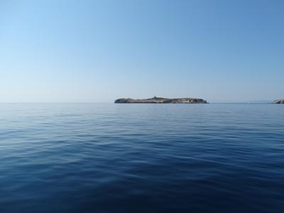 On the calm blue sea aboard Carpe Diem