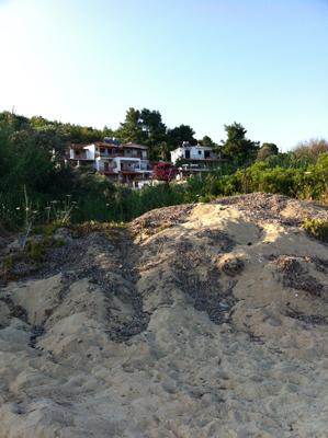 Looking up to Villa Zaharo from Trulos Beach