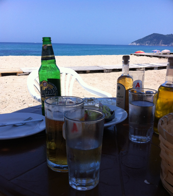 Lunch after a hard morning cuddling puppies at the Dog Shelter - Mega Aselinos Beach