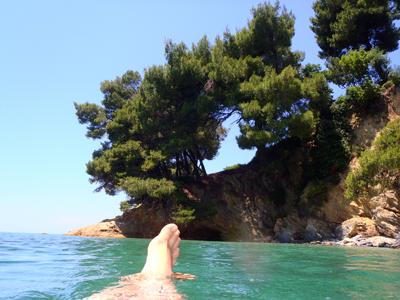 Bobbing about in Panormos Bay, Skopelos