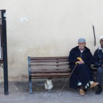 Three locals outside the Saadien Tombs - Kasbah District.