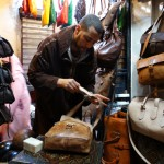 My new handbag getting a dose of vegetable oil at Chiki Imad stall in the souks
