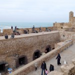 Our lunch view of Essaouira's rampart walls.