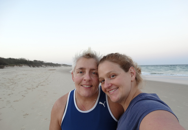 Evening walks on a deserted Marcoola Beach