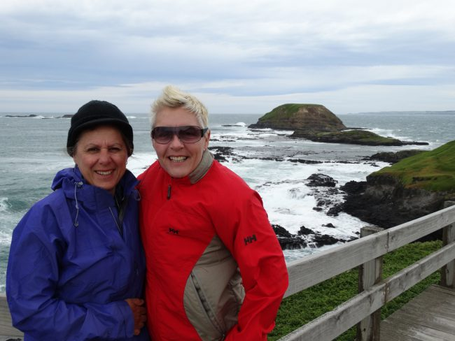 Marie and Julie braving the bracing wind - Wilsons Promontory