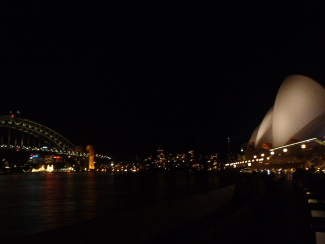 The coathanger and the sails AKA Sydney Harbour Bridge and the Opera House.