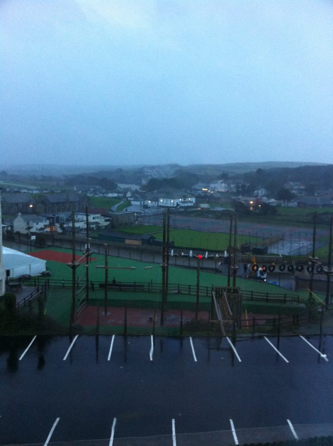 Menacing weather over our view from the An Mor Hotel, Bude.