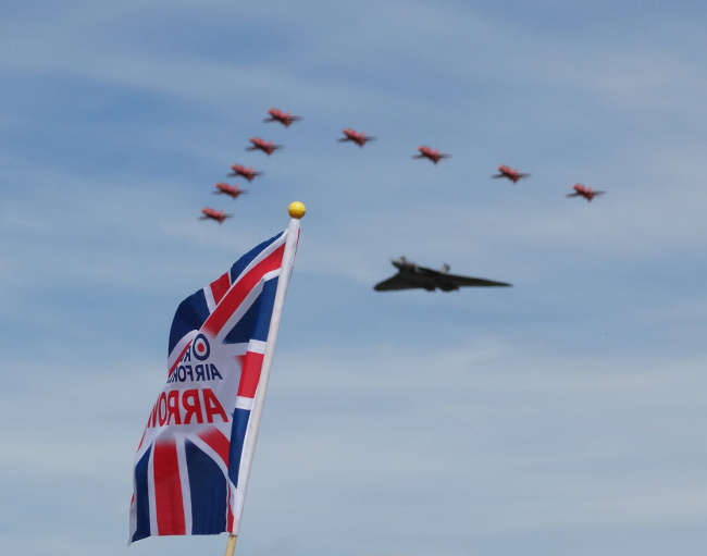 RAF Red Arrows escorting the Vulcan Bomber