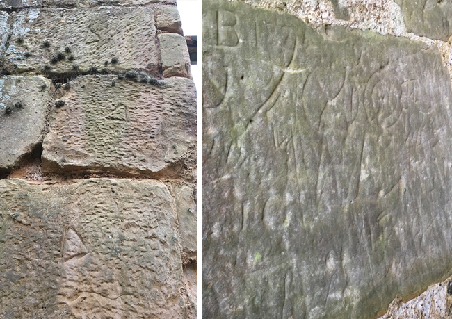 The triangles denote which one of the six Banker masons carved the stone to make the blocks. As a piece-worker he would be paid for the stones bearing his mark. The right image shows either marks against witchcraft, the approval/sign off of the whole construction by the architect, and 19th century graffiti...apparently.