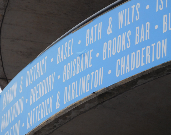 The upper level entry ramps display all the locations with MCFC supporters clubs...including Brisbane!