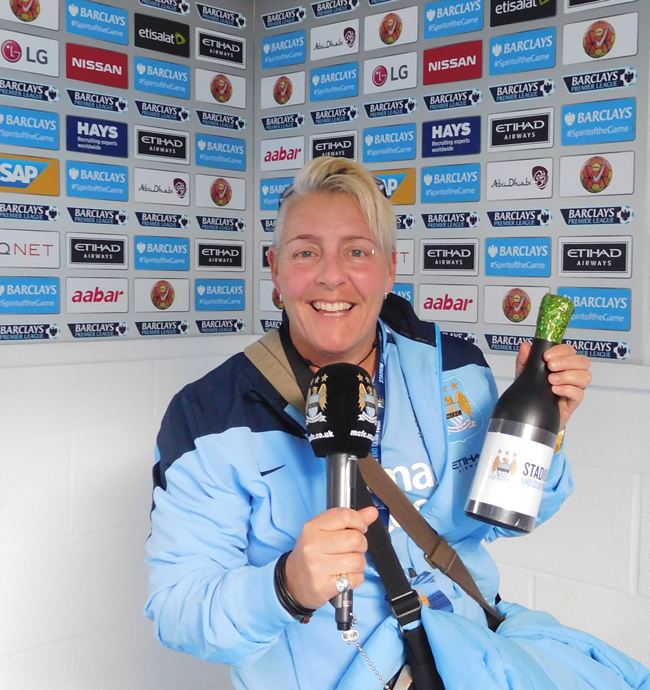 Fake mike and champagne to toast a good game and interview the player of the match in the tunnel to the pitch.