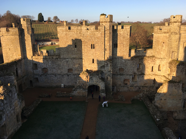 Looking north to the Gatehouse from the south side at the top of a very steep and worn spiral staircase.