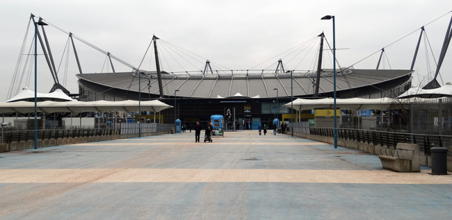 The optical illusion that is Etihad Stadium - what seems like ground floor from here is actually the second tier of stand seating, with the pitch, team rooms and bottom seating tier being dug into the ground.