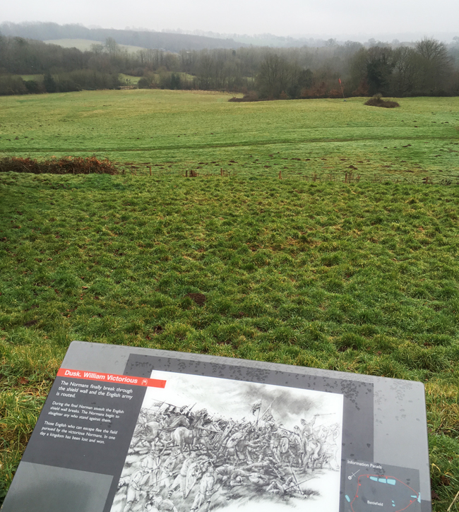 Top of the ridge where the battle was fought, defended - eventually unsuccessfully - by King Harold and the Anglo-Saxon English.