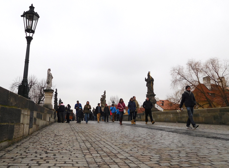 Charles Bridge by day...without the summer swarms of foot traffic still buzzes even in the cold days of February.