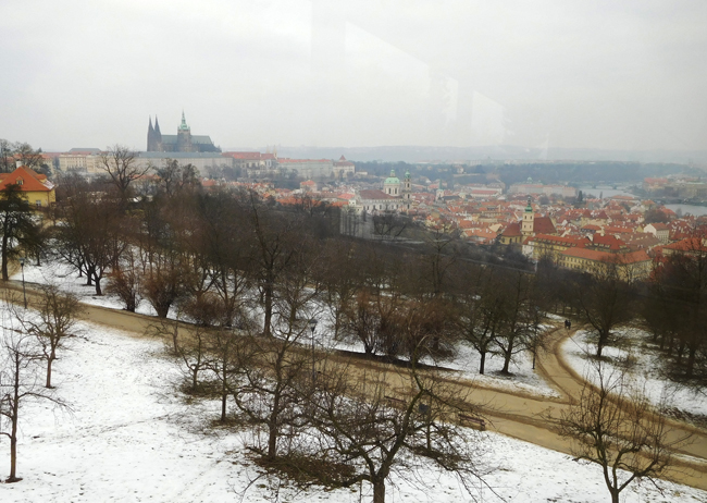 View over Prague Lesser Town, Prague Castle and Petrin Hill on the funicular tram ride downhill.