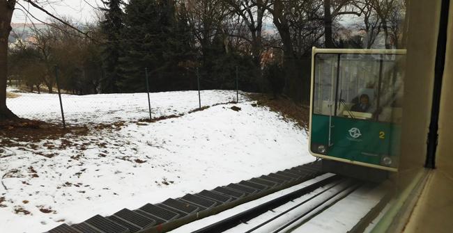 Petrin Hill funicular tram line.