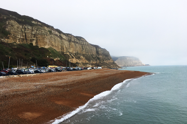 Looking east from The Stade over Rock-A-Nore Beach, Hastings.