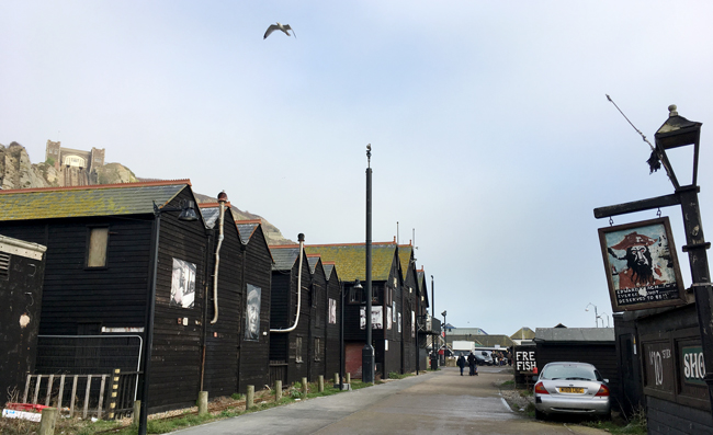 Fisherman's huts at The Stade - home to Europes largest beach-launched fishing fleet.